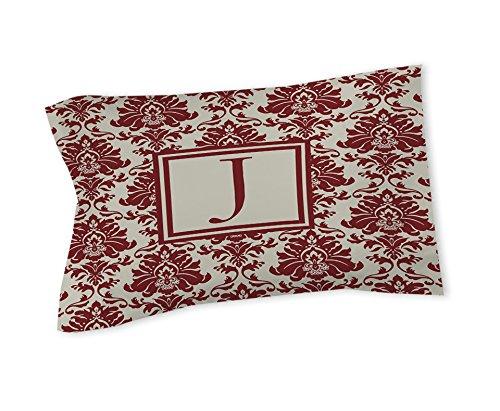 Thumbprintz Pillow Sham, King, Monogrammed Letter J, Crimson Damask