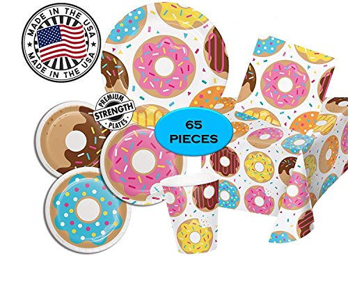 Donut Time Birthday Party Supplies - Dinner & Dessert Plates, Napkins, Cup and Tablecover - 65 pieces for 16 guests - MADE IN THE USA