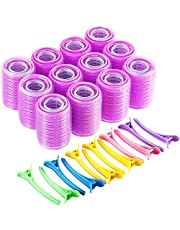 Self Grip Hair Rollers Set, Self Holding Rollers and Multicolor Plastic Duck Teeth Bows Hair Clips Hairdressing Curlers for Women, Men and Kids (44 mm, 36 mm, 25 mm, 48 Pieces)