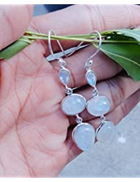 Blue Fire Moonstone Earrings for Women, Pure 925 Sterling Silver three stone Rainbow moonstone earrings, Natural Moon Stone Earrings, Gift Jewelry