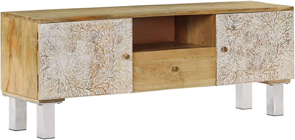 UnfadeMemory Mueble para TV,Mesa para TV,Mesa Baja para Salón Dormitorio,con 3 Compartimentos,Madera Maciza de Mango 118x30x45cm (Tipo2): Amazon.es: Hogar