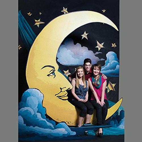Old Hollywood Smiling Moon Prom Photo Prop Kit, 12 Feet High x 6 Feet Wide Background Photo Wall