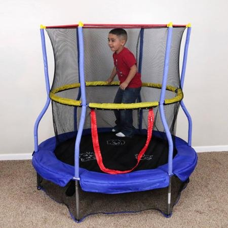 Bounce and Learn Round Trampoline with Safety Enclosure, Blue by Skywalker Trampolines
