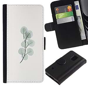KingStore / Leather Etui en cuir / Samsung Galaxy S5 V SM-G900 / Pastel Rama minimalista