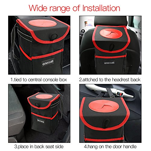 oneisall Car Trash Can with Lid,Waterproof & Leak-proof Car Garbage Can Holder,Portable In Car Trash Bag Hanging with Storage Pockets(Black&Red) by oneisall (Image #4)