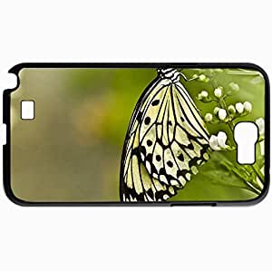 Personalized Protective Hardshell Back Hardcover For Samsung Note 2, Butterfly Design In Black Case Color