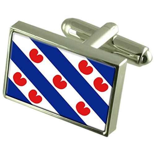 Friesland Sterling Silver Flag Cufflinks in Engraved Personalised Box by Select Gifts