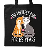 Inktastic - 65th Anniversary Gift Cat Couples Tote Bag Black