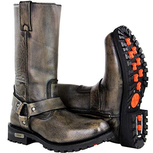 Xelement X99005 'Throttle' Mens Distressed Brown Performance Leather Boots - 12