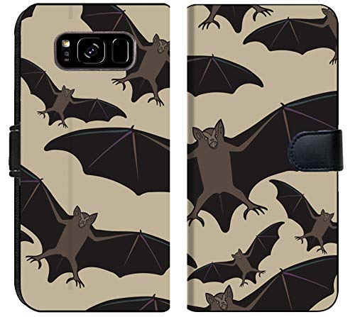 Luxlady Samsung Galaxy S8 Plus Flip Fabric Wallet Case ID: 44881718 Vector Seamless Halloween Pattern with bat Repeating Abstract Background]()