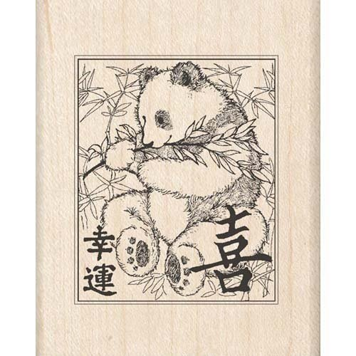PANDA Wood Mounted Rubber Stamp InkaDinkaDo (Stamp Mounted Rubber Wood Dragonfly)
