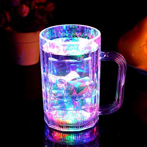 Glovion LED Flashing Multicolor Light up Beer Beverage Mug Pack of 2
