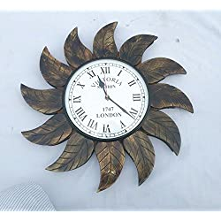 Hand Crafted Antique Wooden Leaves Border Decorative Wall Clock | Premium Wall Decor Accents | Hind Handicrafts (Mango Wood) (Round)