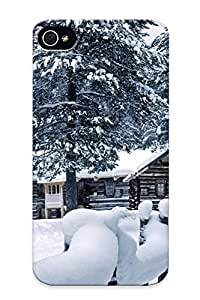 Hot Snap-on World Architecture Buildings Houses Cabin Fence Roads Path Trail Nature Landscapes Trees Forest Winter Snow Seasons White Bright Hard Cover Case/ Protective Case For Iphone 4/4s