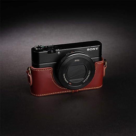 XJPB Bolso para cámara Base de Cuero Estuche para cámara Estuche de Cuero Medio Juego de protección Adecuado para Sony RX100M7 Sony RX100M6,A,SonyRX100M7: Amazon.es: Hogar