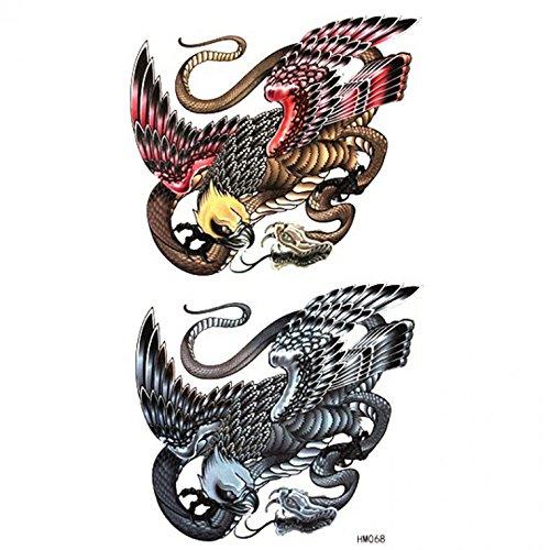 GRASHINE Hot selling waterproof and sweat tattoo sticker eagle war Serpent -