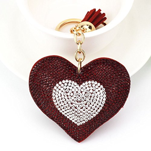 1 Pc Mini Pocket Red Rhinestone Heart Keychain Keyring Keyfob Romantic PU Leather Pendant Key Chain Ring Fob Tag Holder Finder Necklace Worthy Popular Cute Wristlet Utility Keychains Tool, Type-08