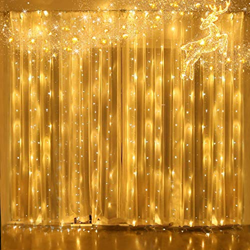 Light Factory 300 LED Window Curtain Lights , Outdoor Twinkle String Of Lights , Lights For Bedroom Fairy Lights For Indoor Wall Decor , Holiday Party Birthday Christmas Wedding Decorations Warm White from Y YUEGANG