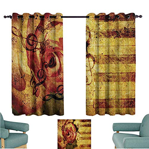 DONEECKL Customized Curtains Rose Vintage Background with Piano Keyboard and Majestic Rose Love Valentines Art Theme Tie Up Window Drapes Living Room W55 xL72 Cream Red ()