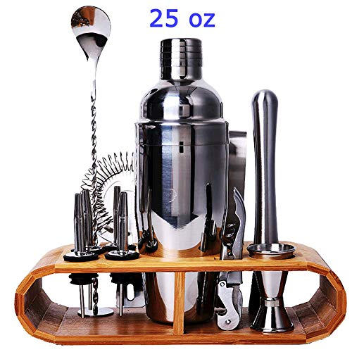 - Cocktail Shaker Set 12 Pcs Bartender Kit With Polished Bamboo Stand 25 Oz Shaker Jigger Mixing Spoon Ice Broken Stick Strainer Ice Tongs Wine Opener Spouts for Cocktail Makers by RY Home