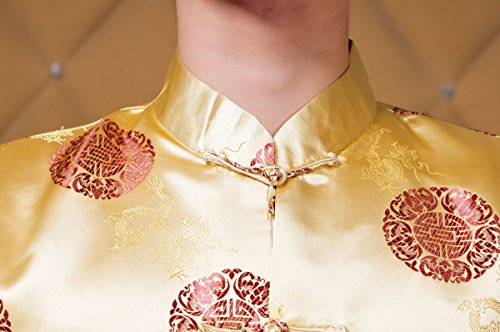 XueXian(TM) Men's Long Sleeve Chinese Style Qipao New Year Outfit Tang Suit (China XXL:Bust 48.81'',Yellow) by XueXian(TM) (Image #4)