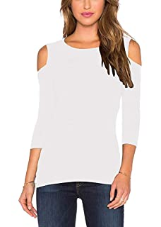 9b2f5f26e4ff0 Mippo Women s Sexy Slim Fit Cold Shoulder 3 4 Sleeve Stretchy Shirt Casual Blouse  Tops