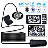 Wireless Endoscope, Goodsmiley HD1080P 1000mAh Wifi USB Borescope, IP68 Waterproof Inspection Camera, Semi-rigid Flexible Snake Camera for Android, iPhone, Samsung, Tablet, PC, 16.4 Foot/5 Meters
