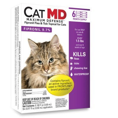 Cat MD Max Defense Flea & Tick Topical for Cats (over 1.5 lbs) - 6 Month Supply