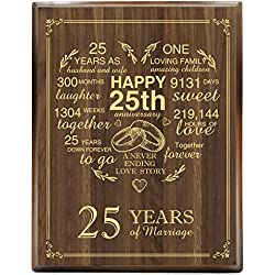 yuzi-n 25th Wedding Anniversary Engraved Gold Wood Plaque, 25 Years Wedding Anniversary for Men, for Women, for Couple