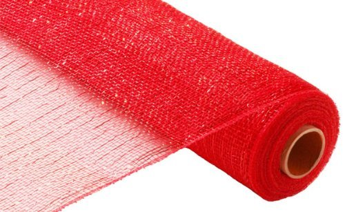 (21 Inch x 30 feet Deco Poly Mesh Ribbon - Metallic Red and Red Foil : RE100124)