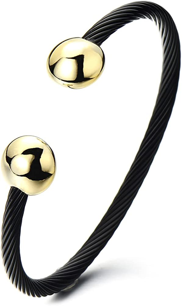 Stainless Steel Cable CZ Blessed Pendant Bracelet Magnet Gold and Silver
