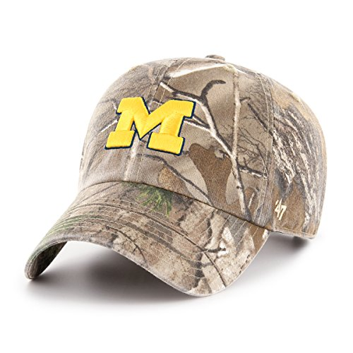 '47 NCAA Michigan Wolverines Adult Clean Up Realtree Adjustable Hat, One Size, Realtree Camo (Michigan Camo Hat)