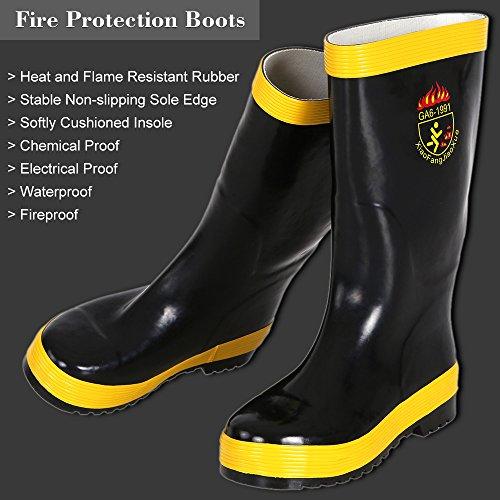 KKmoon Fire Protection Bottes Anti-feu Imperméable à l'eau électrique Preuve Chimique Preuve Anti-incendie Bottes d'antidérapants Taille 44