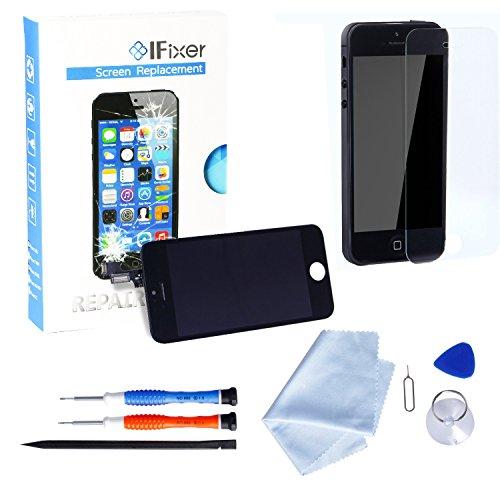IFixer iPhone 5s LCD Display Bildschirm Ersatz Touchscreen Front Glas Ersatzteile-Set Werkzeugset inklusive Digitizer-Professionell Reparatur-Flussdiagramm Schwarz