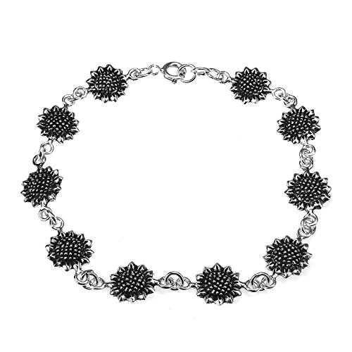 AeraVida Pretty Sunflower .925 Sterling Silver Link Bracelet