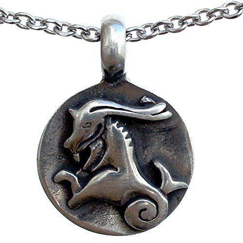 - Capricorn 22 December – 20 January Zodiac sign pewter pendant Stainless Steel Necklace