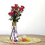 Transer Glowing Light Bulb Shape Stand Plant Flower Vase (Gold)
