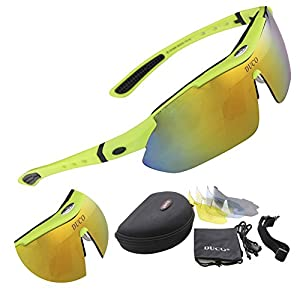 Duco Polarized Sports Sunglasses with 5 Interchangeable Lenses UV400 Protection Sports Sunglasses for Cycling Running Glasses 0026 (Green Frame)