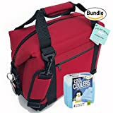 Polar Bear Coolers Nylon Series Soft Cooler Tote Size 12 Pack Red & Fit & Fresh Cool Coolers Slim Ice 4-Pack (Bundle)