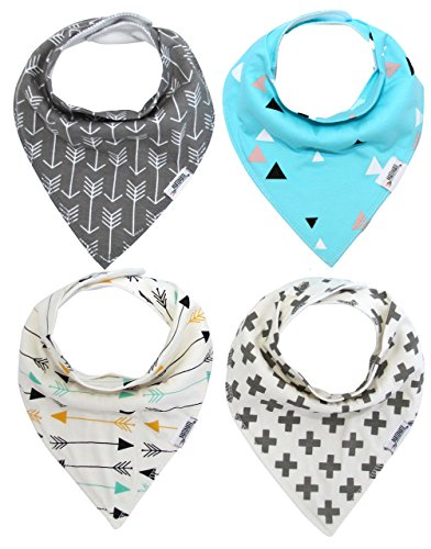 Matimati Baby Bandana Bib Set, 4-Pack Super Absorbent, Soft, & Chic Organic Drool Bibs for Boys & Girls (Arrows & Triangles)