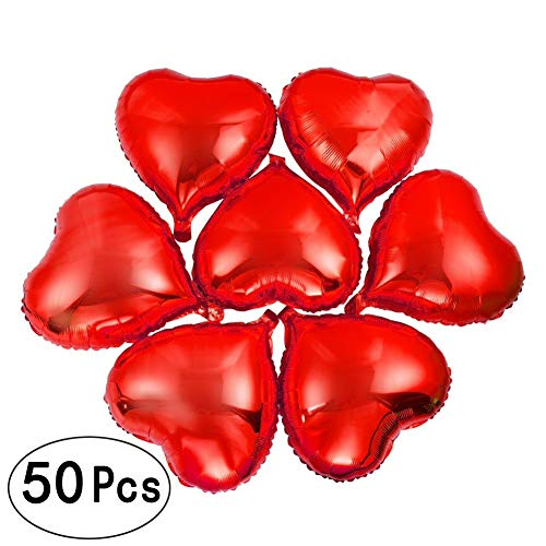 10 Inch Red Heart Foil Mylar Balloons Valentines Day Wedding Engagement Favors Love Helium Metallic Balloons Baby Shower Birthday Graduation Party Decorations, 50 PC