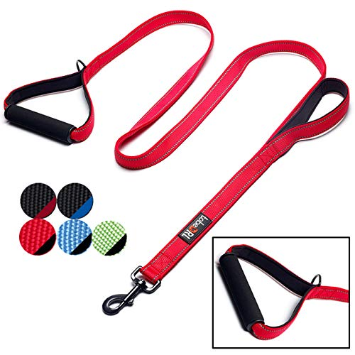 tobeDRI Heavy Duty Dog Leash - 2 Padded Handles, 6 feet Long - Dog Training Walking Leashes for Medium Large Dogs (Red)