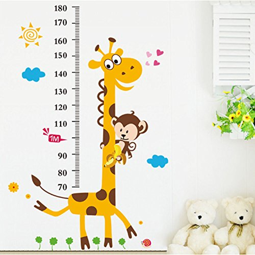 Kids Room Removable Cartoon Animal Giraffe Height Ruler Wall Sticker Wallpaper - Removable Room