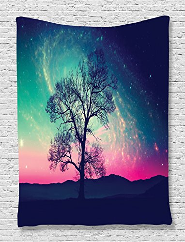 Scary Silhouette Hung (Star Tapestry Stars Orbit Nebula Galaxy Decor by Ambesonne, Red Alien Silhouette Moonlight Fantasy World Print, Bedroom Living Kids Girls Boys Room Dorm Accessories Wall Hanging, Magenta Navy Light)