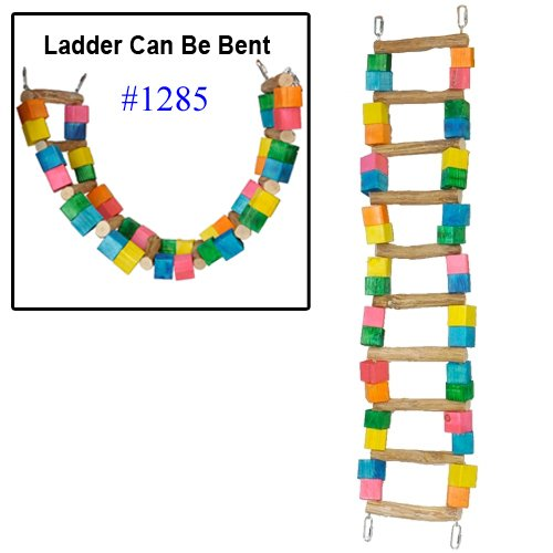 Bonka Bird Toys 1285 Huge 10 Bar 35-Inch Ladder Swing Bird Toy Parrot cage Toys Cages Macaw Amazon Cockatoo (10 Bars) by Bonka Bird Toys