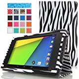 MoKo Google Nexus 7 2013 FHD 2nd Gen Case - Slim Folding Cover Case with Auto Wake / Sleep for Google Nexus 2 7.0 Inch 2013 Generation Android 4.3 Tablet, Zebra BLACK