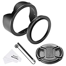 Neewer 67MM Reversible Tulip Flower Lens Hood with Metal Ring Mount Clip, Lens Cap, Cap Keeper Leash and Microfiber Cleaning Cloth for Canon Nikon Sony Panasonic DSLR with 67MM Lens Thread Size