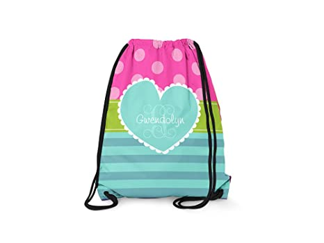 Amazon.com  Tin Tree Gifts Customized Drawstring Backpack Black Pink ... 862571f06af08