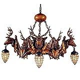 DMMSS Retro Crystal Deer Ceiling Lights Living Room Chandelier Antler Chandelier Lamp Antler Lamp The Bar Café Resin Antler Pendant Lights