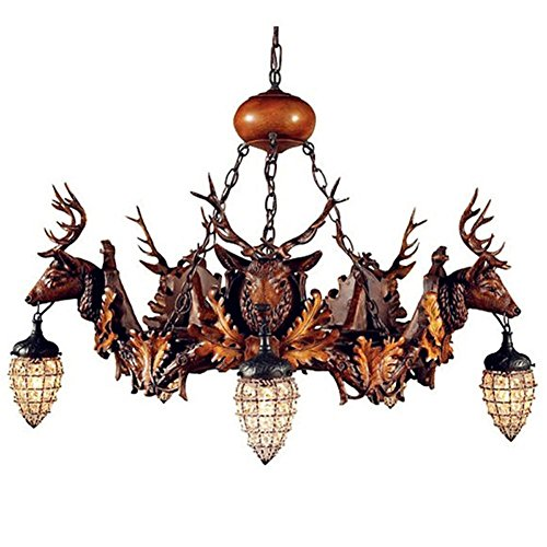 DMMSS Retro Crystal Deer Ceiling Lights Living Room Chandelier Antler Chandelier Lamp Antler Lamp The Bar Café Resin Antler Pendant Lights by DMMSS Pyjamas